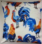 Shabby Chic Cushion Cover China Blue Cockrels Chickens 16""